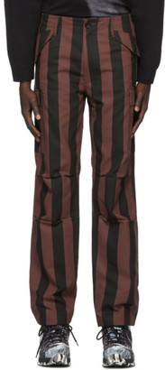 032c Black and Red Striped Cargo Pants