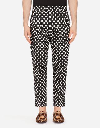 Dolce & Gabbana Cotton Stretch Pants In Polka-Dot Print