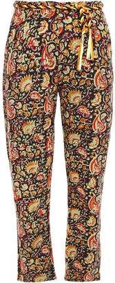 Antik Batik Belted Floral-print Cotton-canvas Tapered Pants