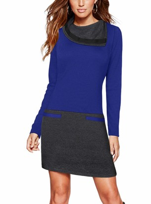 Moyabo Work Dresses for Women Long Sleeve Funnel Neck Color Block Business Office Work Pencil Bodycon Dress Black Small