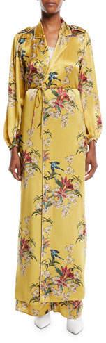 Johanna Ortiz The Flower Queen Long-Sleeve Tie-Front Silk Satin Kimono Jacket