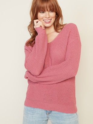 Old Navy V-Neck Shaker-Stitch Sweater for Women