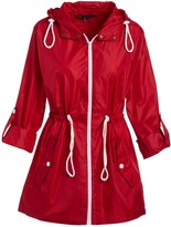 Big Chill Women's Non-Denim Casual Jackets Red - Red Pack-in-Pocket Ripstop Anorak - Women