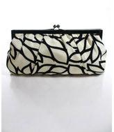 Julie Brown Black Ivory Satin Kiss Lock Abstract Print Evening Clutch Handbag