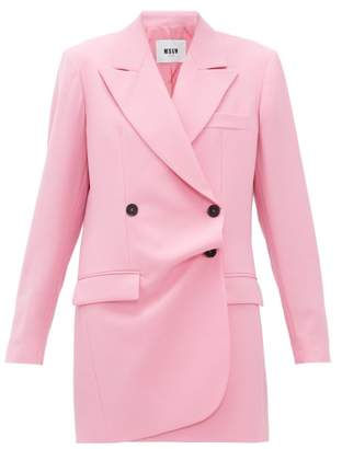 MSGM Misalinged Double-breasted Wool Mini Dress - Womens - Pink