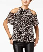 Lily Black Juniors' Cold-Shoulder Shimmer Top, Created for Macy's