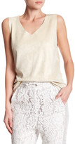 Maac London V-Neck Faux Suede Sleeveless Blouse