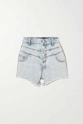 Amiri Jacquard-trimmed Denim Shorts - Indigo