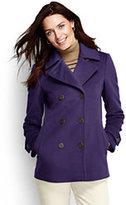 Lands' End Women's Petite Luxe Wool Peacoat-Regal Plum