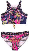 Maaji Kids Ocean Selva Reversible Bikini Set Swimsuit (Toddler/Little Kids/Big Kids) (Hibiscus Pink Floral) Girl's Swimwear Sets