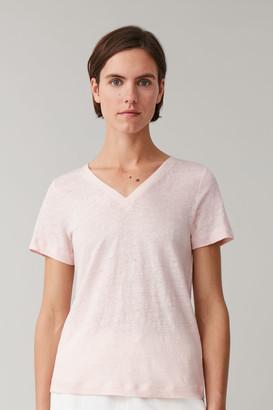 Cos Linen V-Neck T-Shirt