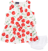 Sweet & Soft White & Red Cherries Tiered Dress & Bloomers - Infant