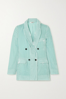 SLEEPING WITH JACQUES Jane Bond Double-breasted Crushed-velvet Blazer - Mint