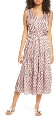 Sam Edelman Chain Print Belted Midi Dress