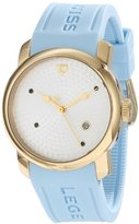 """Swiss Legend Women's 20028-YG-02S-BBL """"Planetimer"""" Sapphire-Accented Stainless Steel Watch with Blue Silicone Band"""