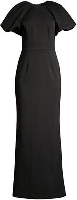 Rebecca Vallance Winslow Puff-Sleeve Column Gown