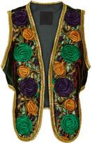 Anna Sui Embroidered Velvet Vest - Merlot