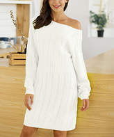 Maison Mascallier Women's Pullover Sweaters White - White Cable-Knit Off-Shoulder Sweater Dress - Women