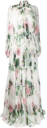 Dolce & Gabbana Tropical Rose print chiffon dress