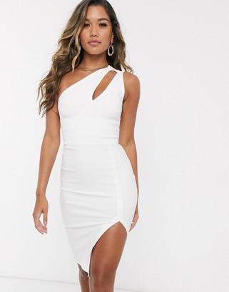 Vesper one shoulder midi dress in white