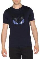 Fendi Sequin Monster Eyes Short-Sleeve T-Shirt, Navy