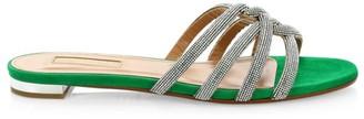 Aquazzura Moondust Crystal-Embellished Suede Flat Sandals