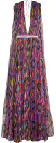 Matthew Williamson Sweetie Ragadang Embellished Printed Silk-chiffon Gown - Fuchsia