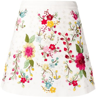 Wandering Floral Embroidered High-Waisted Skirt