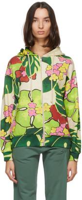 Dries Van Noten Green Floral Zip Hoodie