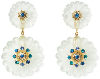 Vince Camuto Crystal Resin Flower Double Drop Earrings