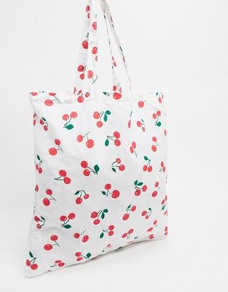 ASOS DESIGN shopper in cherry print
