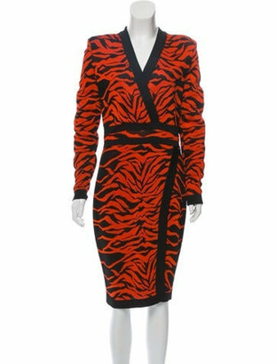 Balmain Animal Patterned Midi Dress w/ Tags Orange
