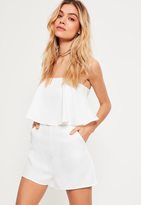 Missguided White Double Layer Bandeau Romper