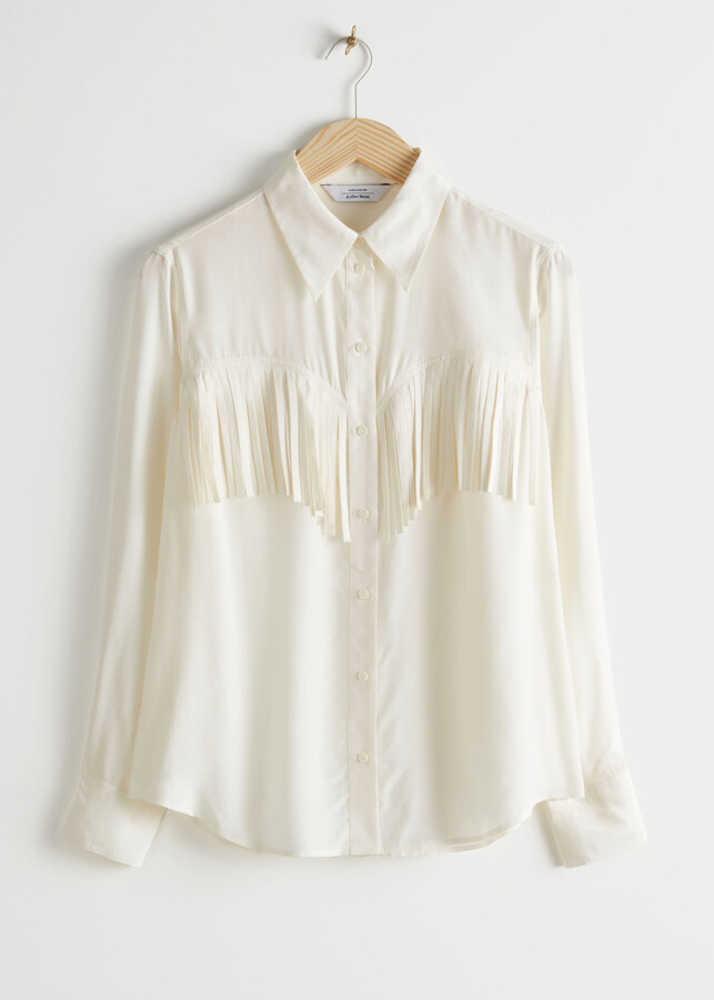 Thumbnail for your product : And other stories Button Up Fringe Shirt