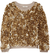 Burberry Sequined Wool And Cashmere-blend Sweater - Gold