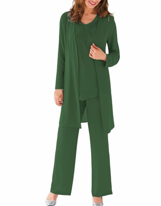 Hsls Women's 3 Pieces Formal Mother of Bride Dress Pant Suits with Jacket with Beaded Chiffon Outfits (Hunter Green 6)