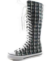 DailyShoes Women's Tall Canvas Lace Up Punk Sneaker Flat Knee High Boots
