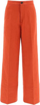 COLVILLE PALAZZO TROUSERS 40 Orange Cotton, Linen