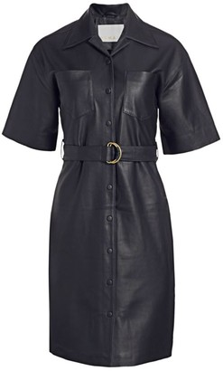 Remain Birger Christensen Puglia Leather Belted Shirtdress