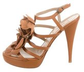 Valentino Flower-Embellished Platform Cage Sandals
