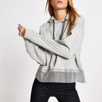 River Island Womens Grey diamante chain trim long sleeve hoodie