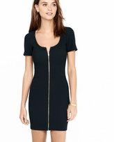 Express black ribbed zip dress