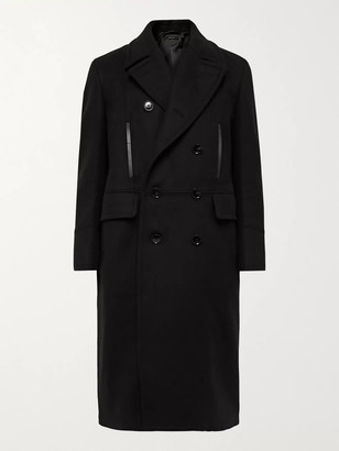 Tom Ford Double-Breasted Leather-Trimmed Wool And Cashmere-Blend Coat
