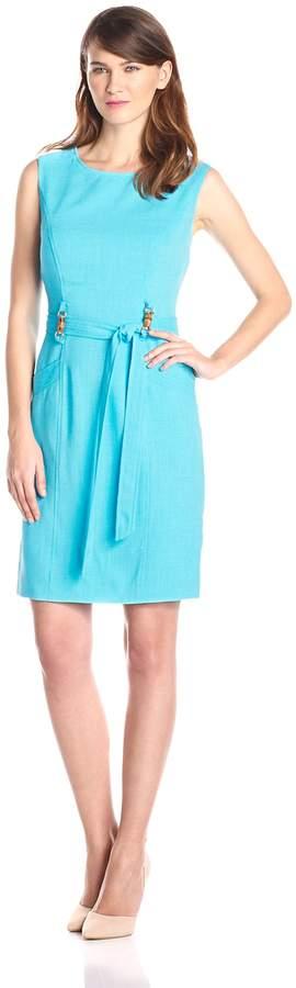 Ellen Tracy Women's Sleeveless Belted Dress