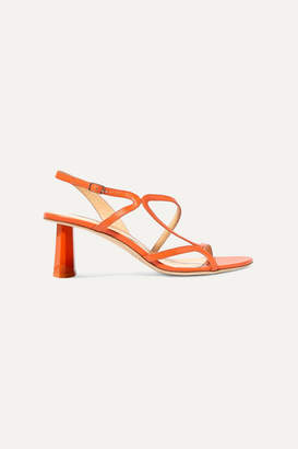 BY FAR Brigette Leather Slingback Sandals - Bright orange