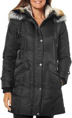 One Madison Tri-Colored Fur-Trim Puffer Coat