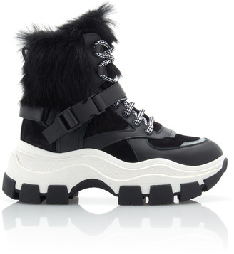Prada Fur-Trimmed Leather And Rubber High-Top Sneakers