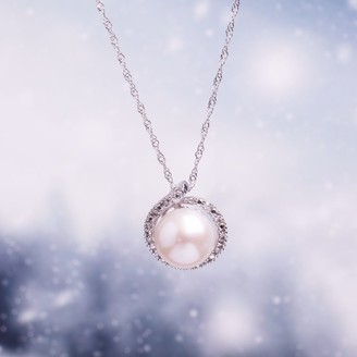 8-8.5 MM Cultured FW Pearl and Diamond Loop Halo Necklace in 10k White Gold by Miadora - 13.3 mm x 17 inch x 12 mm
