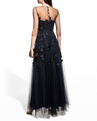 Carolina Herrera Bead-Embroidered Tulle Illusion Gown