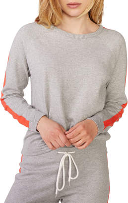 Monrow Vintage Raglan Crewneck Sweater w/ Side Straps